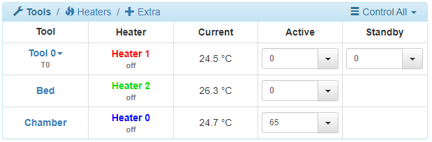 heated chamber settings
